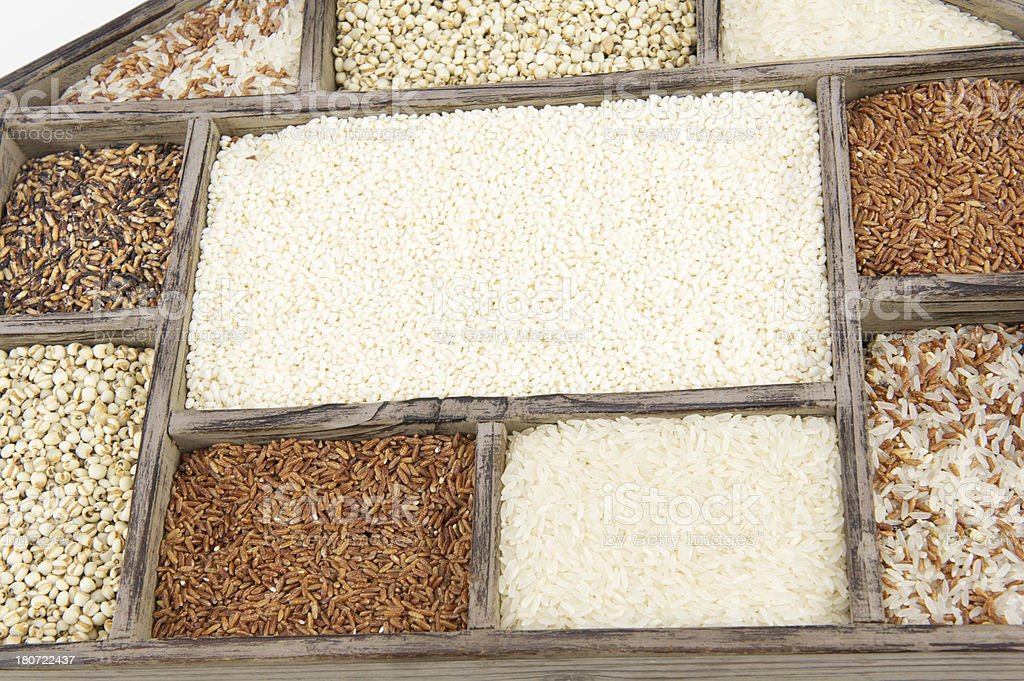 Assorted Grain in Wooden Container royalty-free stock photo