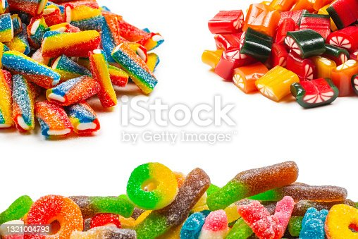 istock Assorted gummy candies. Top view. Jelly  sweets. 1321004793