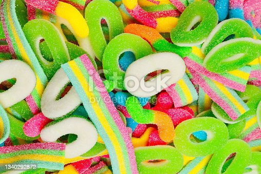 istock Assorted gummy candies. Top view. Jelly  sweets. 1340292872