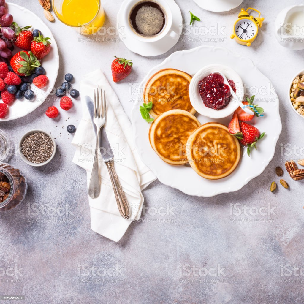 Assorted healthy breakfast royalty-free stock photo