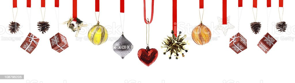 Assorted high resolution Christmas decorations and ornaments isolated on white stock photo