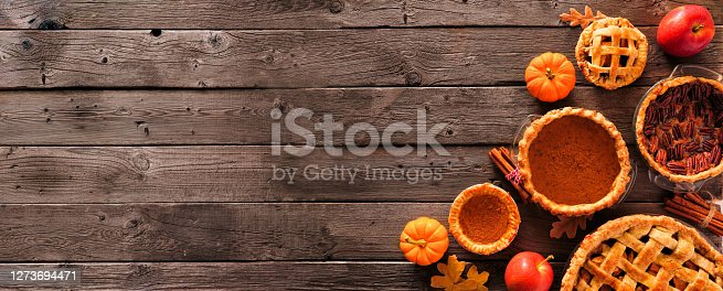 Assorted homemade autumn pies. Pumpkin, apple and pecan. Overhead view corner border on a rustic wood banner background with copy space.