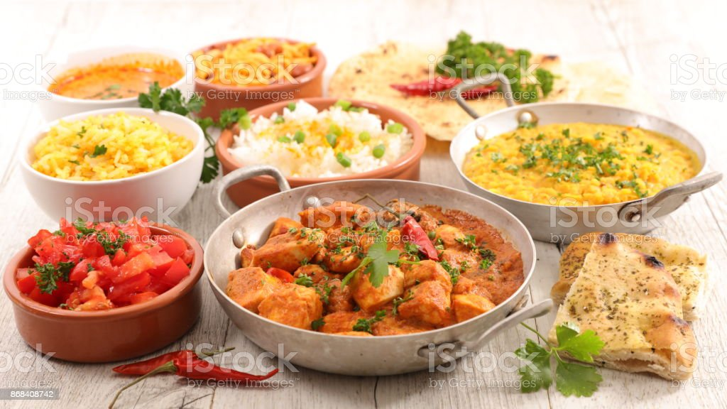 assorted indian curry and dish stock photo