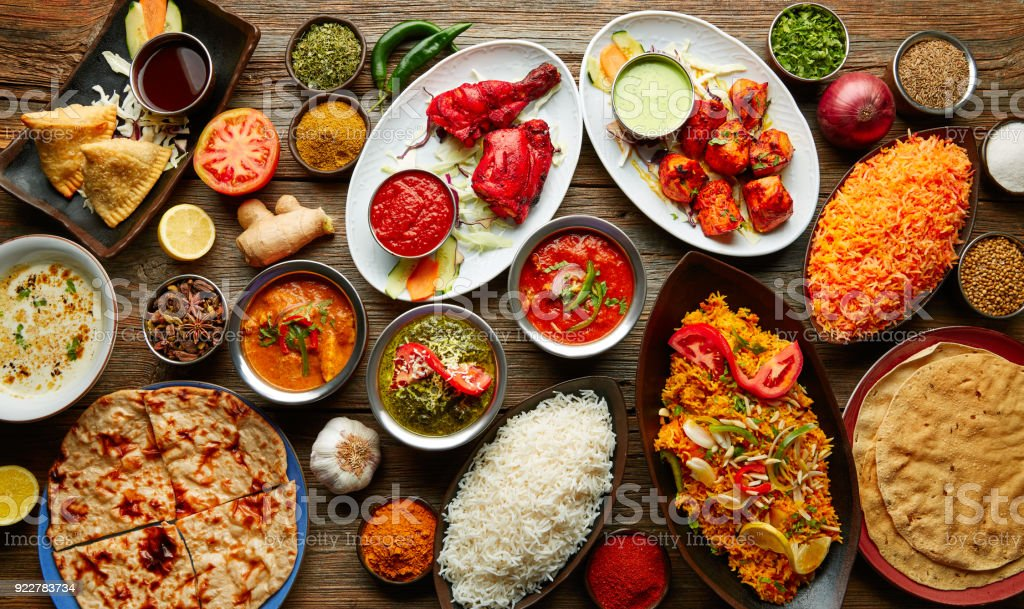 Assorted Indian recipes food various stock photo