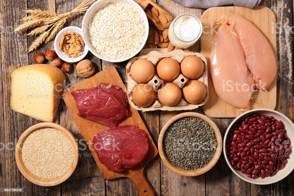 assorted ingredient high in protein royalty-free stock photo