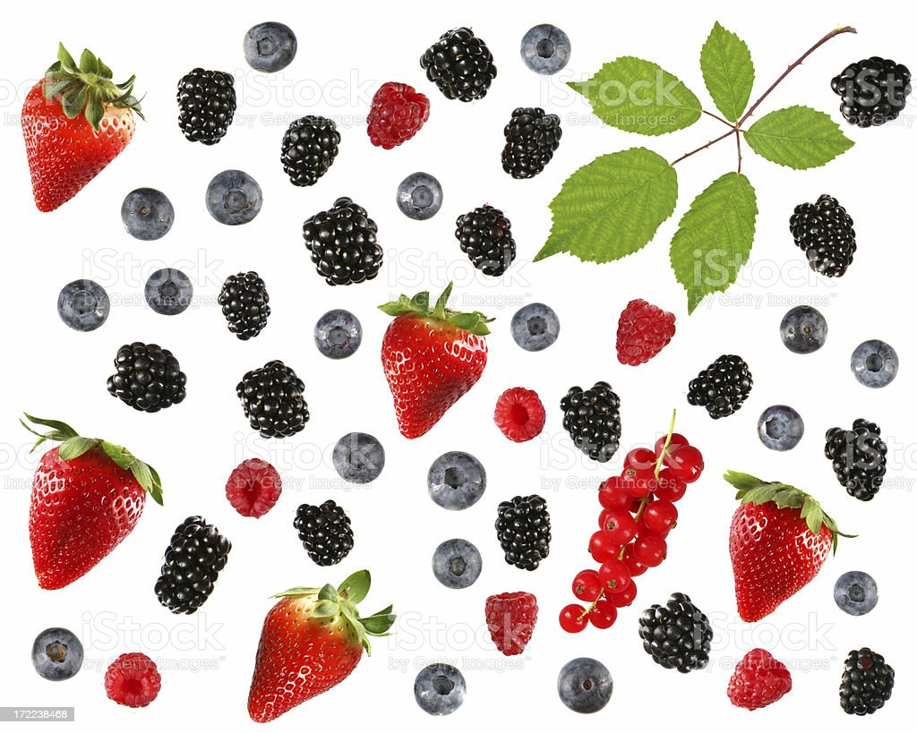 Assorted isolated berries royalty-free stock photo