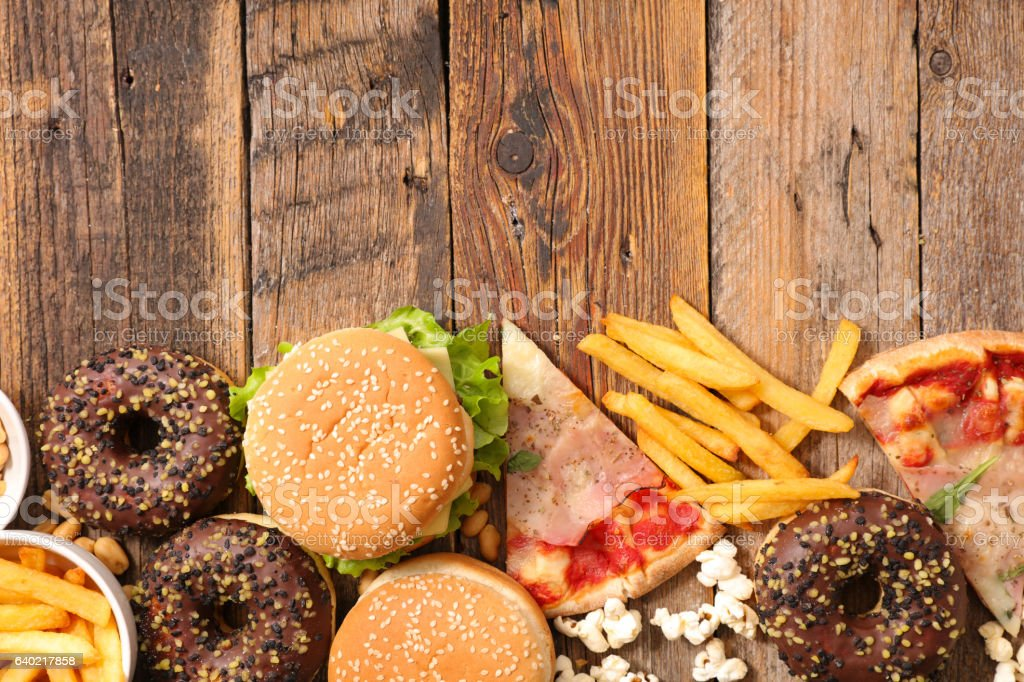 assorted junk food stock photo
