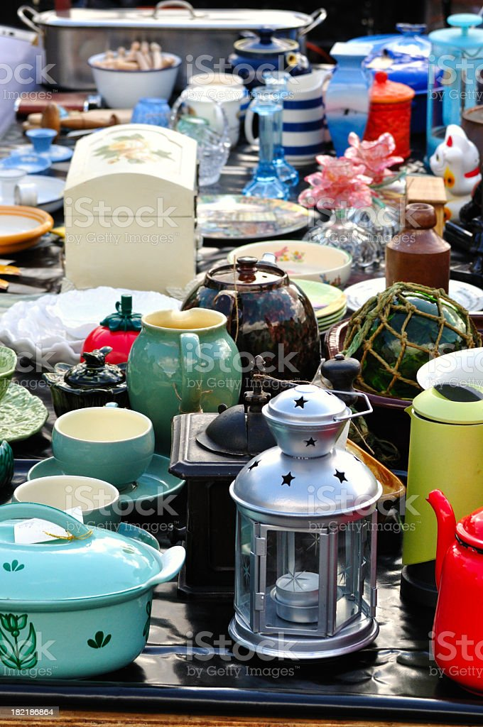 Assorted kitchen products at antique stall  stock photo