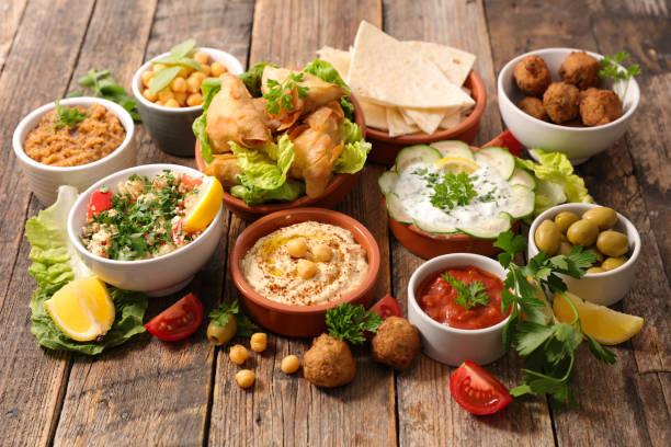 assorted lebanese food stock photo
