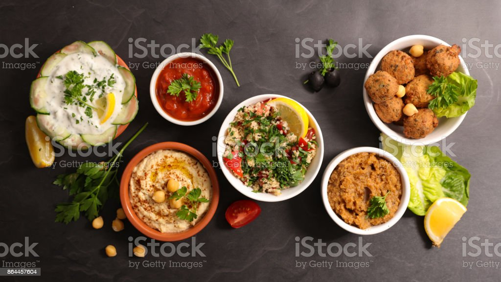 assorted lebanese food stock photo