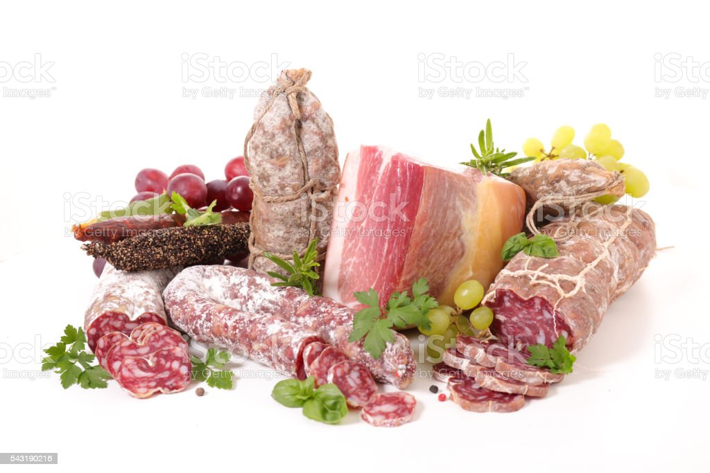 assorted meat and salami stock photo