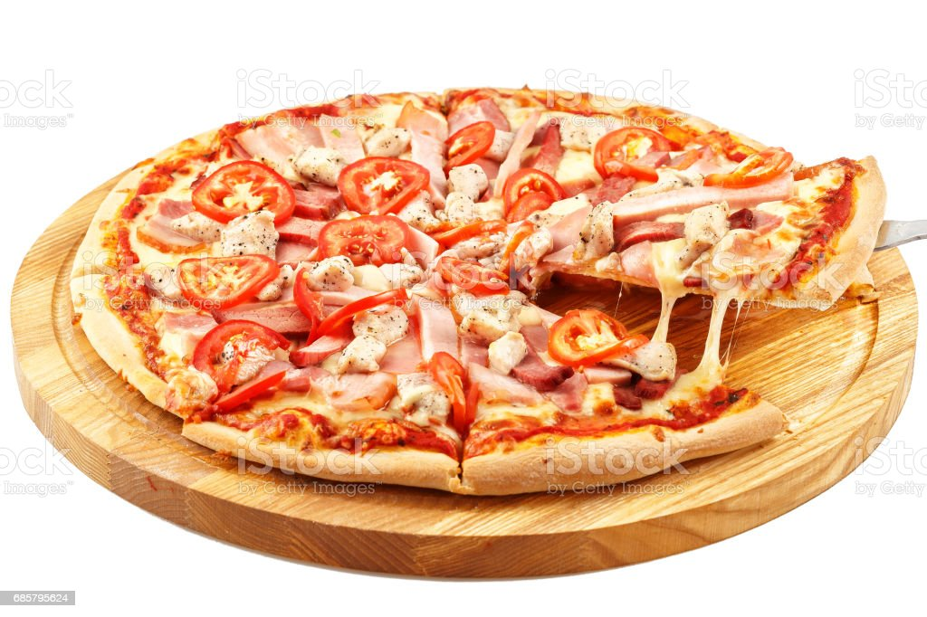 Assorted Meat Pizza, mozzarella, pork, beef, bacon, chicken breast, tomatoes stock photo