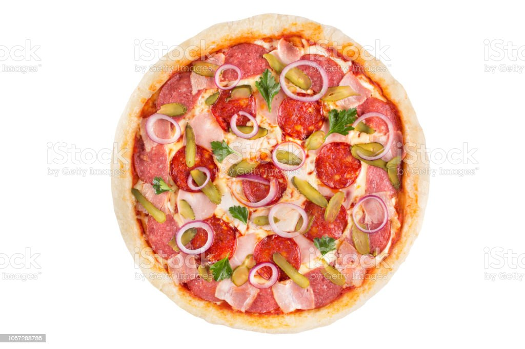 Assorted meat pizza on a white background. View from above. stock photo