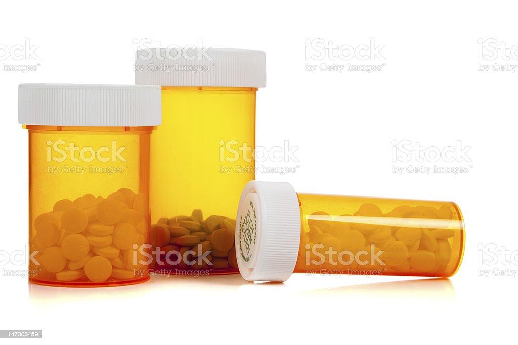 Assorted Medical Presription bottle on white royalty-free stock photo