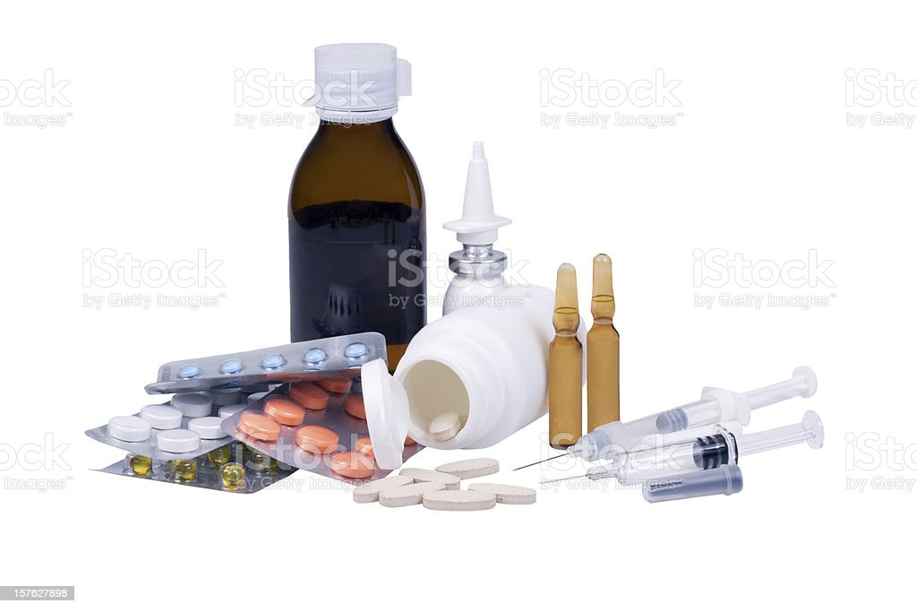 Assorted medication equipment royalty-free stock photo