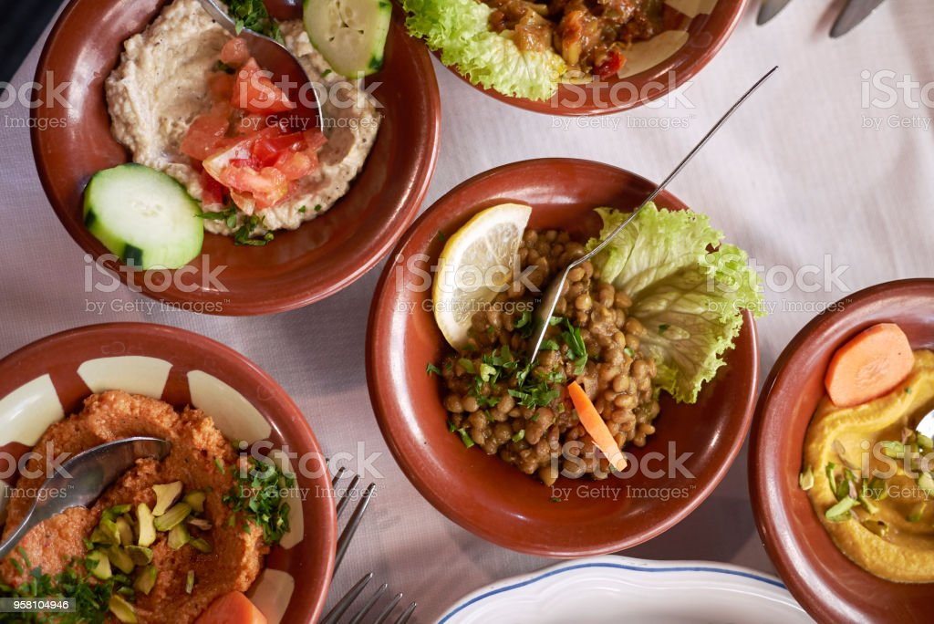 Assorted middle east mezze stock photo