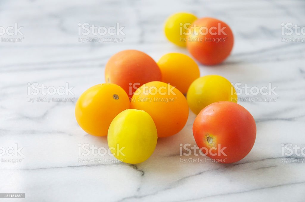 Assorted Mini Heirloom Tomatoes stock photo