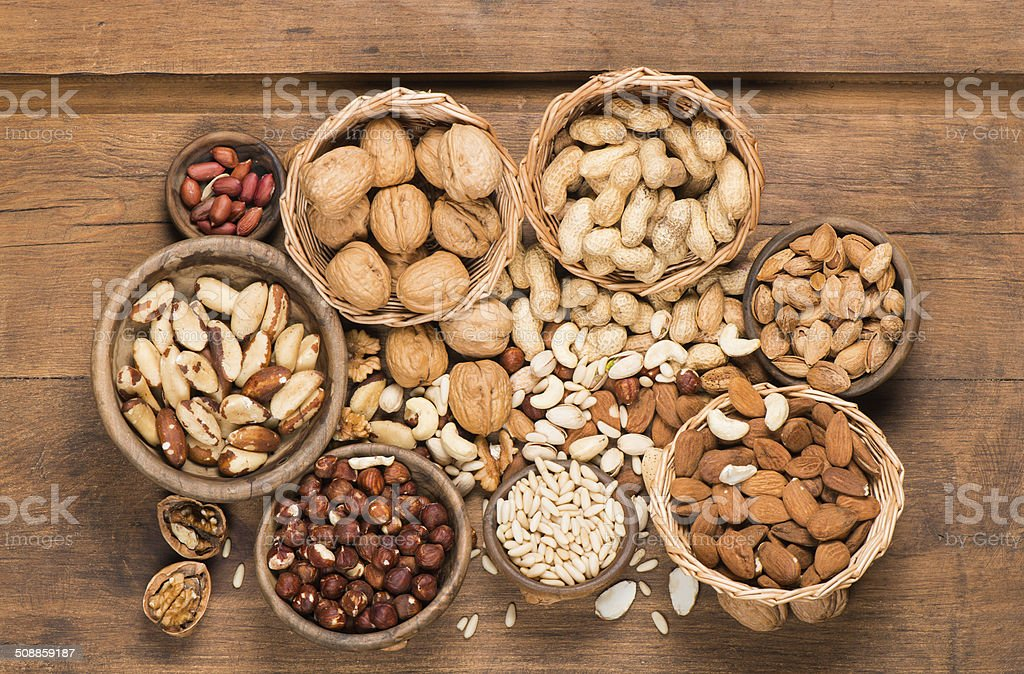 Assorted mixed nuts stock photo