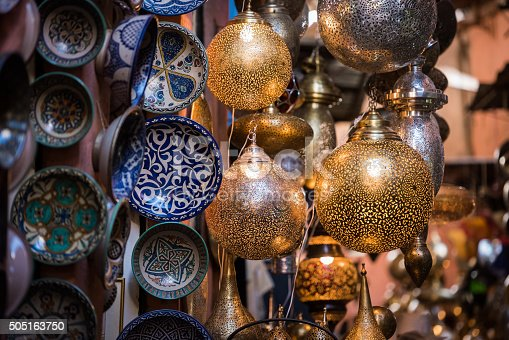 Assorted Moroccan handamde metal lamps for sale in the Souk of the Fes Medina