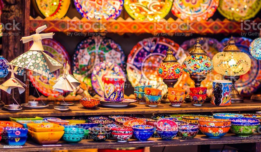 Assorted Moroccan utensils stock photo