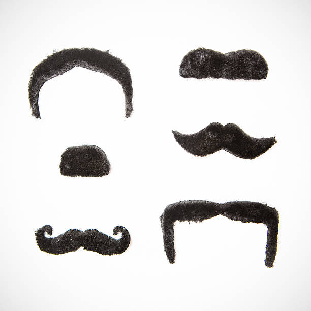 Assorted Mustaches A variety of fake mustaches isolated on a white studio background.  Easy isolation for your composite or design element. mustache stock pictures, royalty-free photos & images