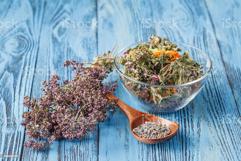 Assorted natural medical dried herbs royalty-free stock photo
