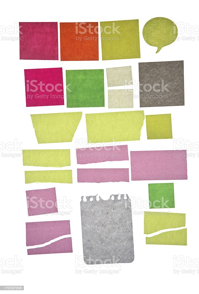 Assorted note papers 2 stock photo