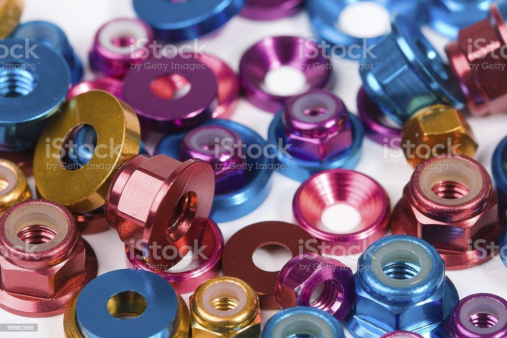 VariadosStencils porcas e anilhas - fotografia de stock
