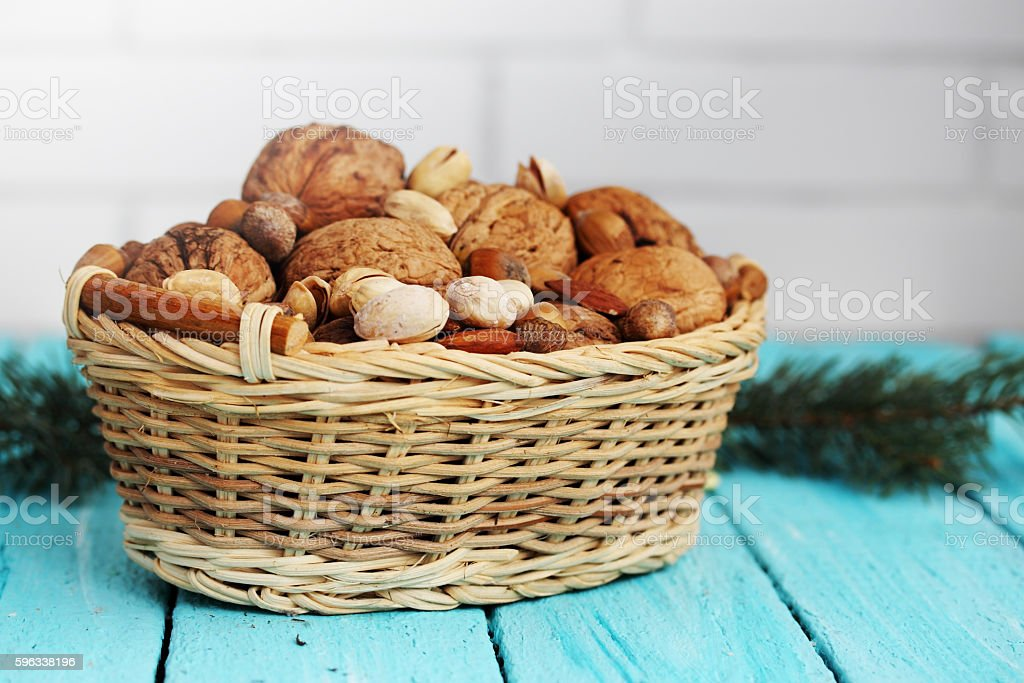 Assorted nuts in a basket royalty-free stock photo