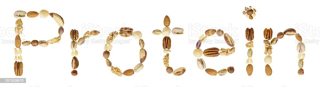 Assorted nuts spell the word Protein royalty-free stock photo