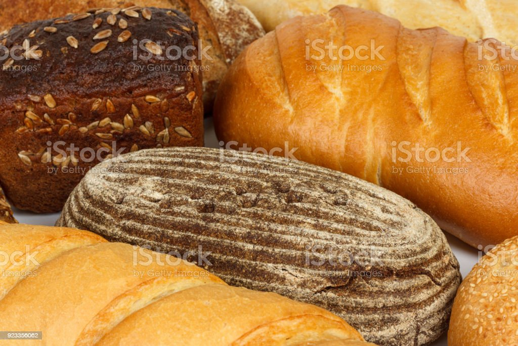 assorted of fresh bread or close up. flour products stock photo