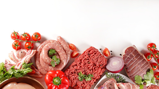 assorted of meats on white background