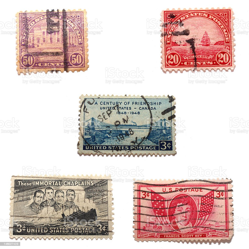 Assorted Old US Stamps stock photo