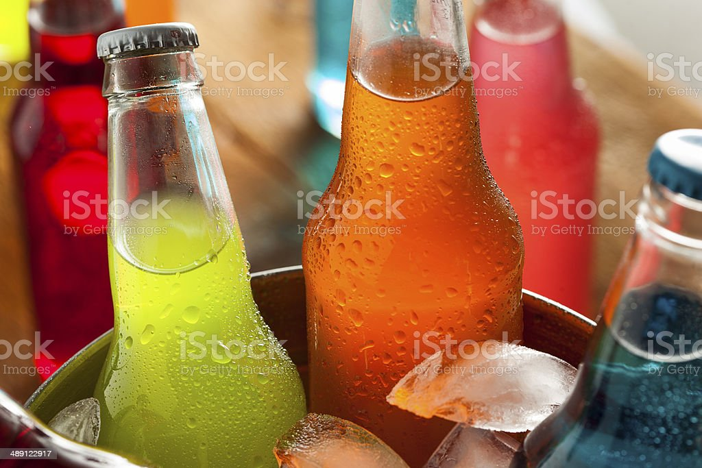 Assorted Organic Craft Sodas stock photo