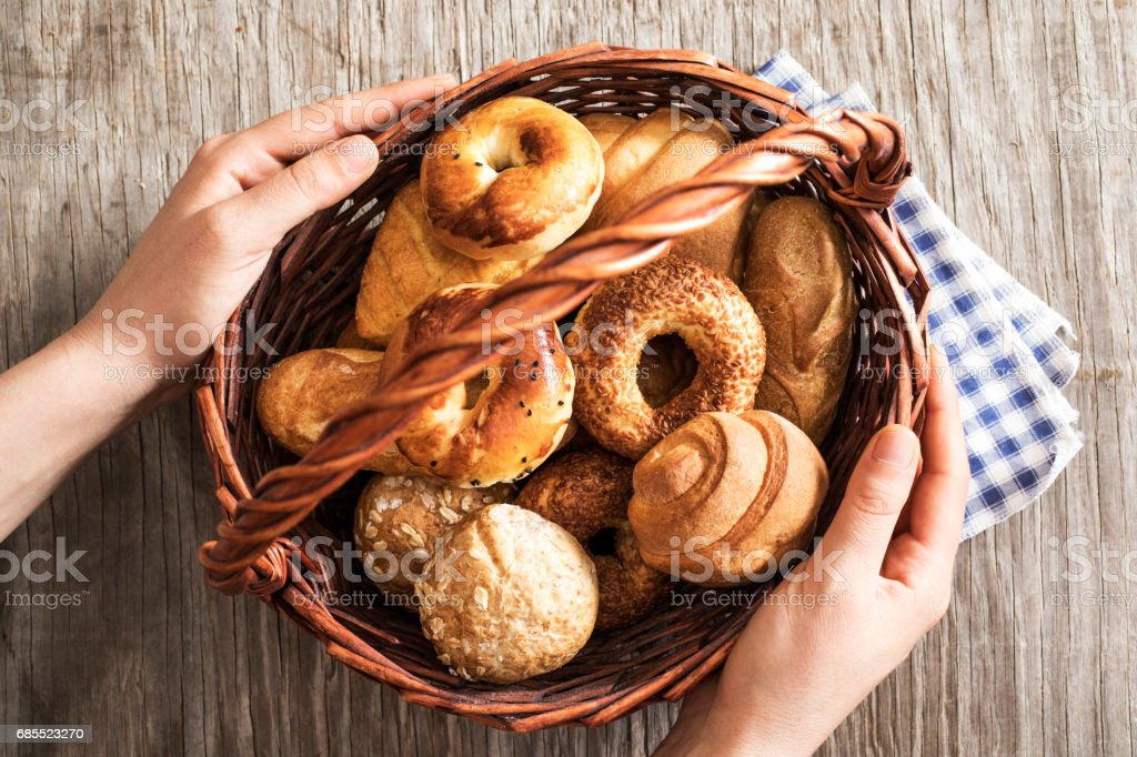 Assorted pastries in straw basket 免版稅 stock photo