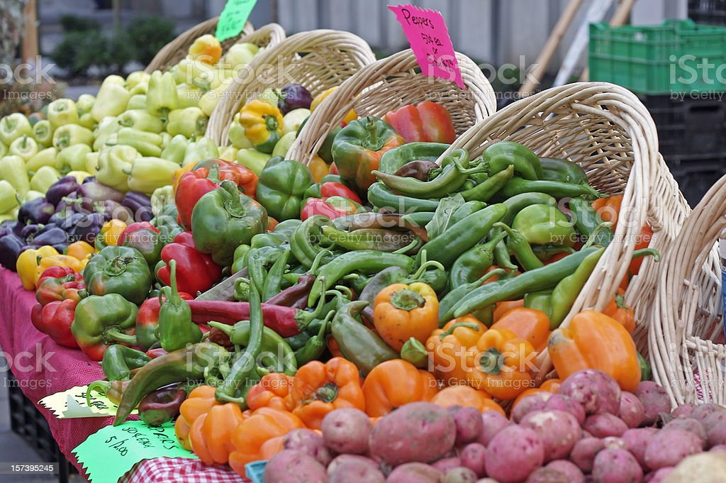Assorted Peppers at the Farmer's Market royalty-free stock photo