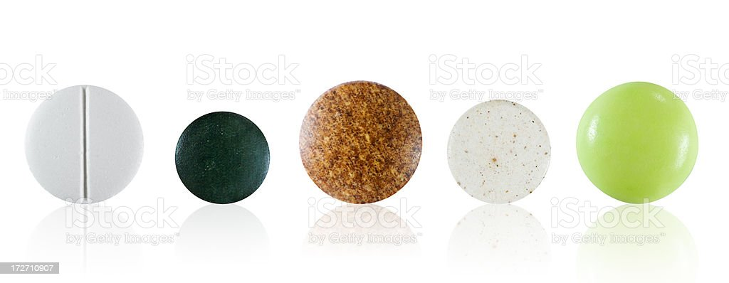 Assorted pills with clipping path royalty-free stock photo