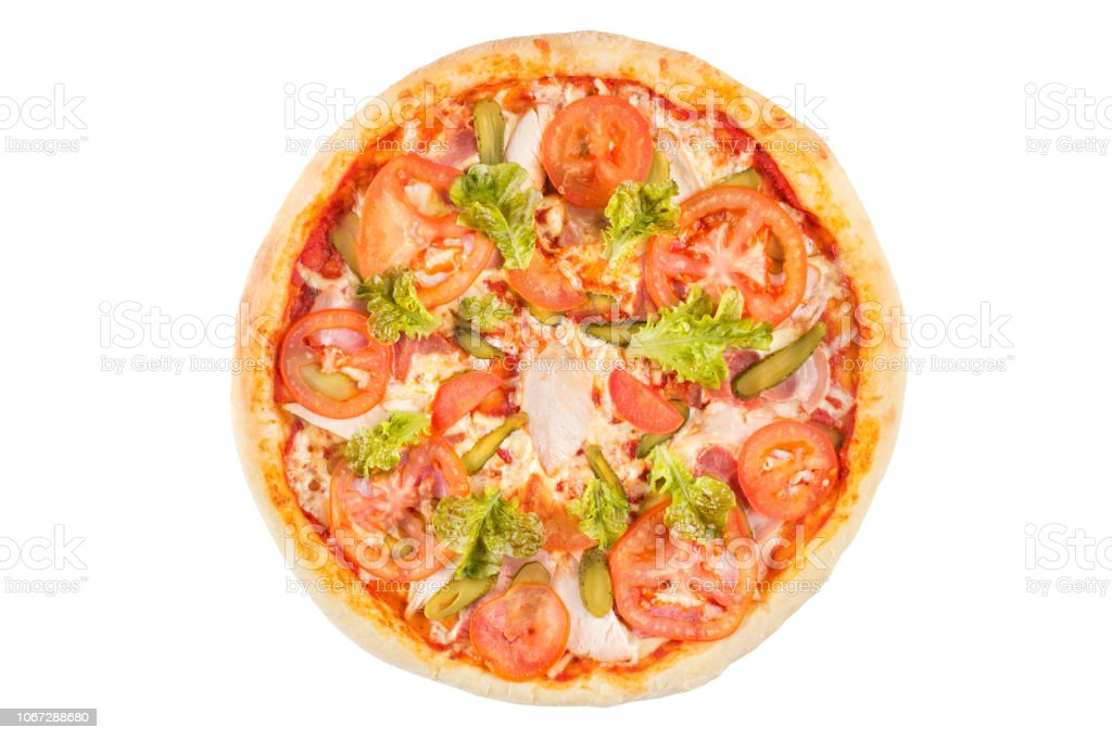 Assorted pizza on a white background. View from above. stock photo