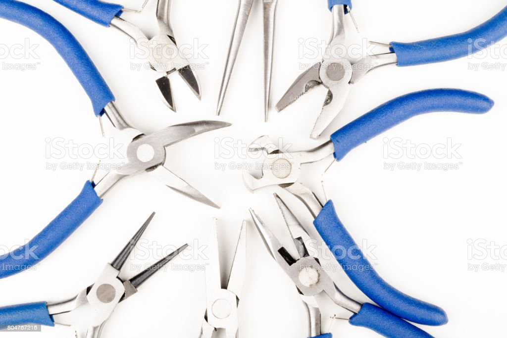 Assorted pliers, nippers and cutters stock photo
