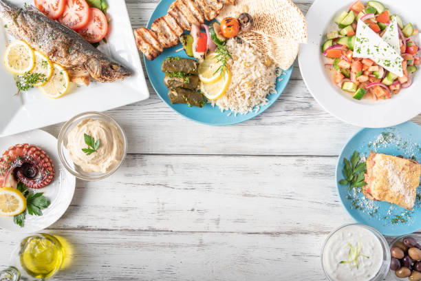 assorted popular greek plates with flat lay angle stock photo