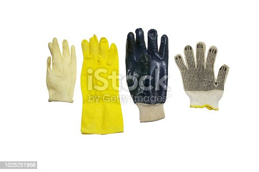 istock assorted protective gloves of rubber and cloth materials, for household, gardening and cleaning, isolated on white, with clipping path 1025251956