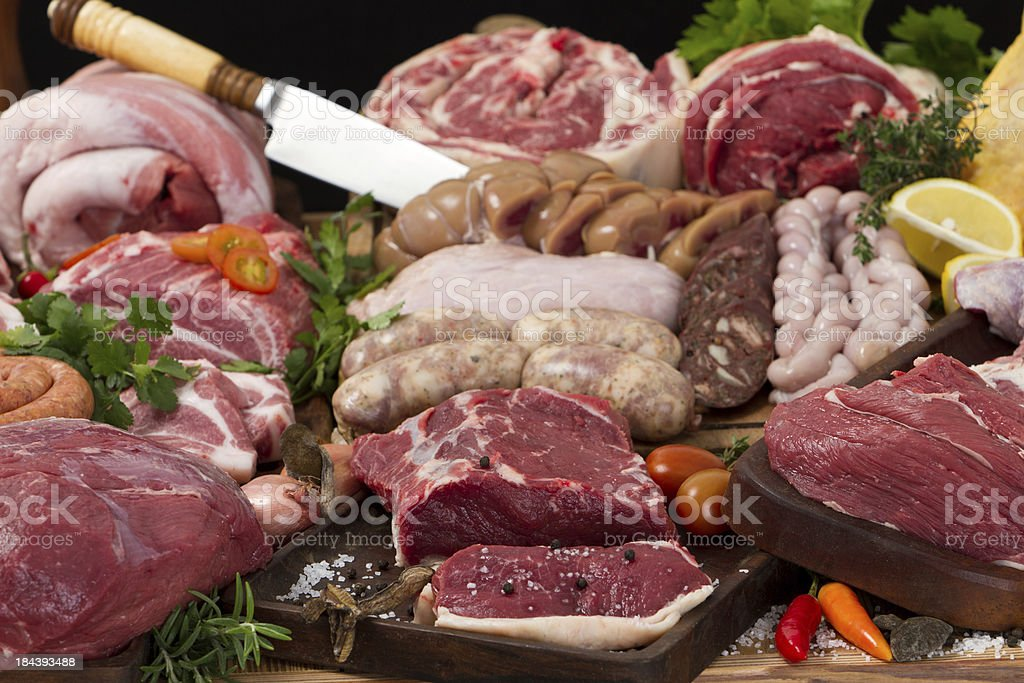 Assorted raw meat royalty-free stock photo