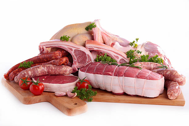 assorted raw meats - meat stock photos and pictures