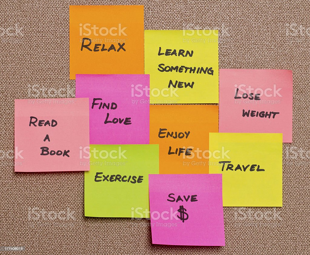 Assorted resolutions on colorful sticky notes stock photo