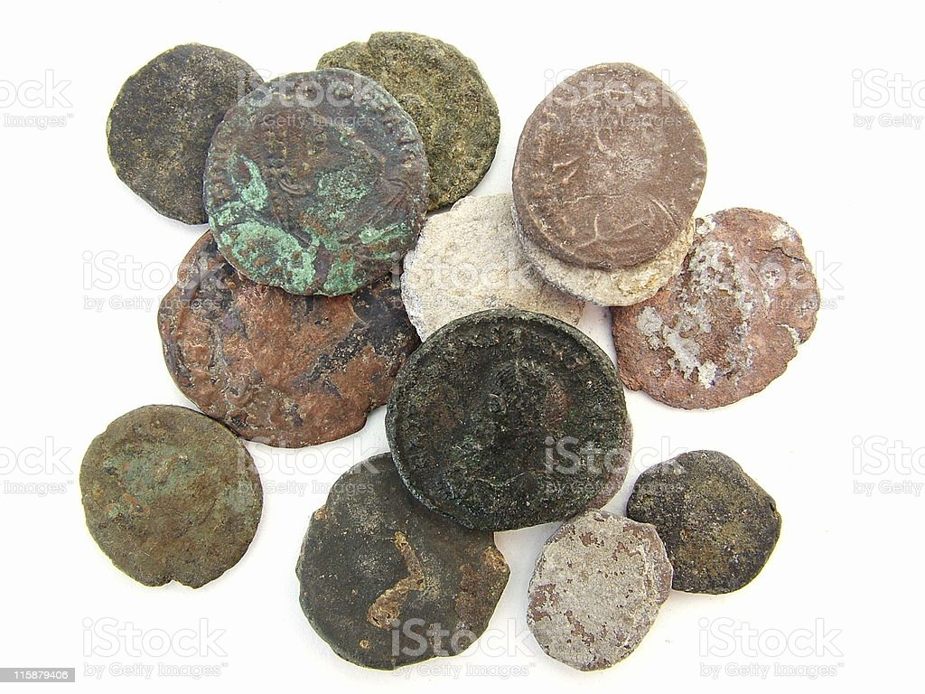 Assorted Roman coins royalty-free stock photo