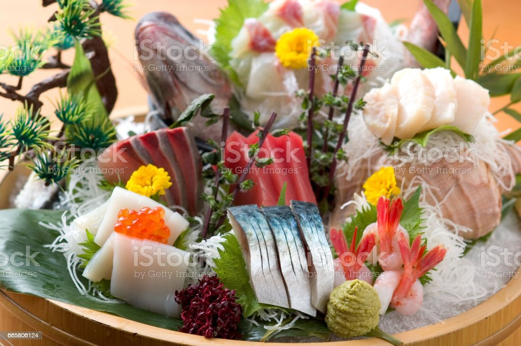 Assorted sashimi stock photo