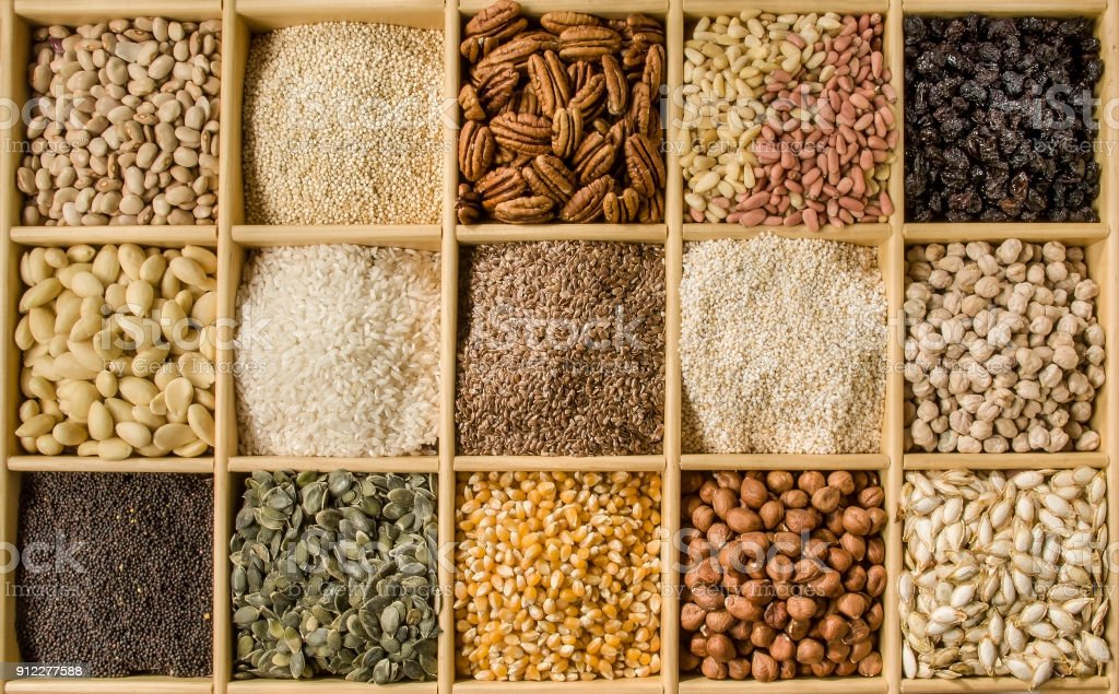 Assorted seeds crate stock photo