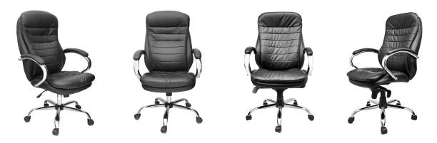 Assorted set of black leather office chairs stock photo