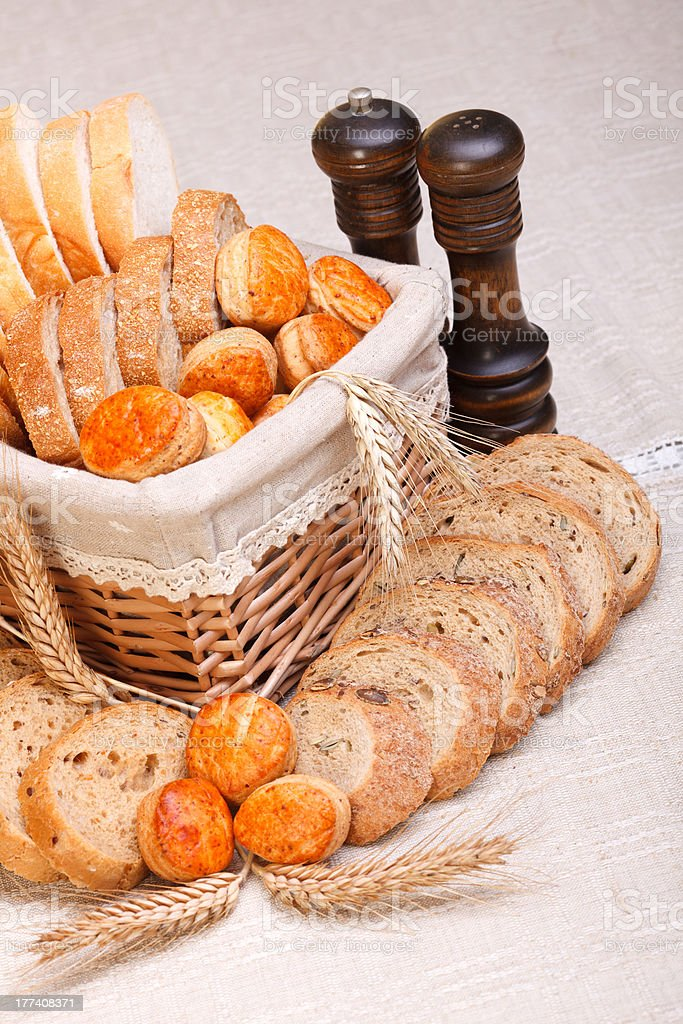 Assorted sliced bakery products royalty-free stock photo