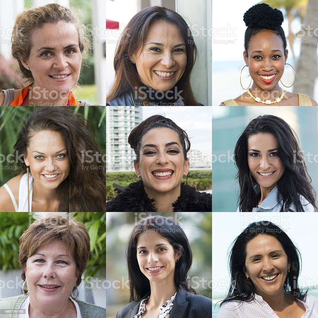 Assorted smiling women stock photo